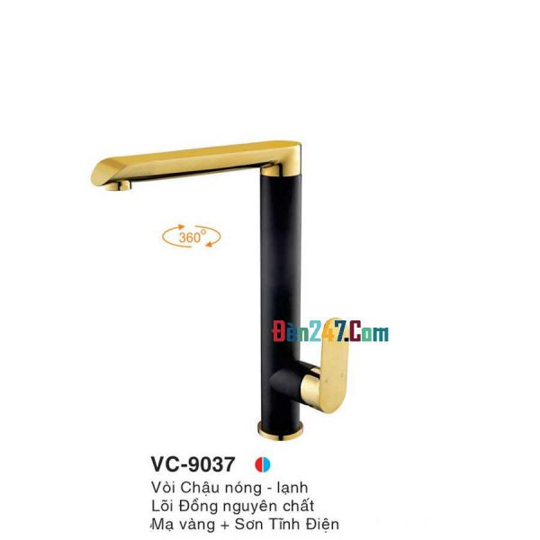 Vòi Chậu Mạ Vàng Nóng Lạnh Euroto VL-9037