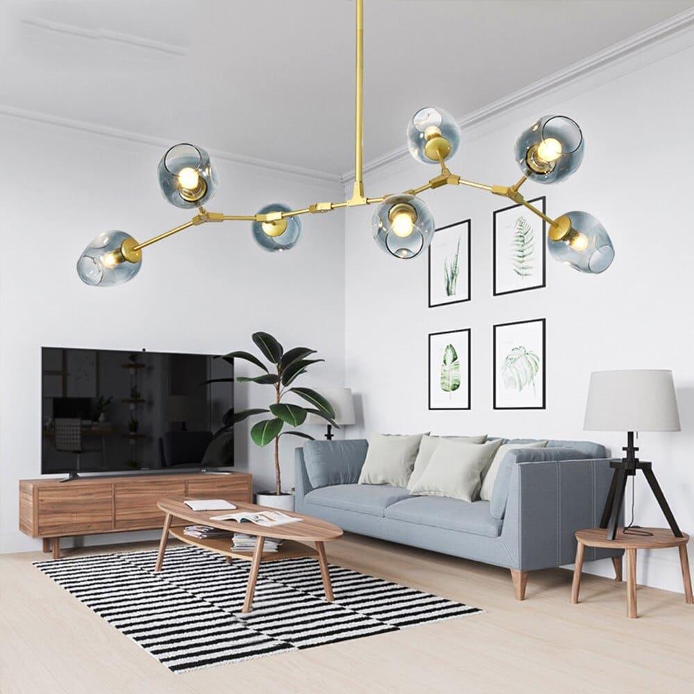 Đèn chùm ốp trần phòng khách hiện đại