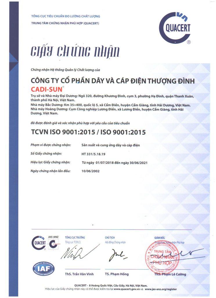 Cadisun tiêu chuẩn ISO 9001:2015