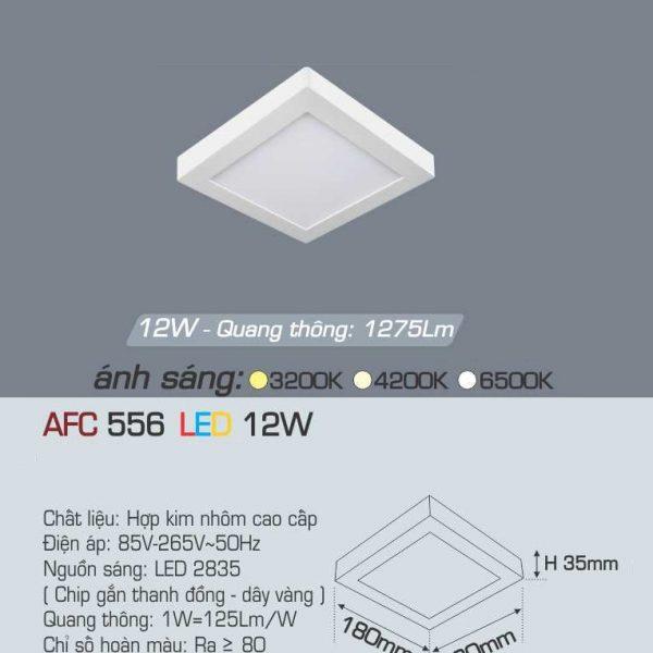 Đèn ốp trần cao cấp Anfaco AFC 556 12W 1C