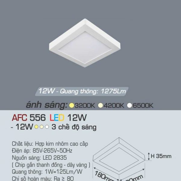 Đèn ốp trần cao cấp 3 chế độ Anfaco AFC 556 12W 3C
