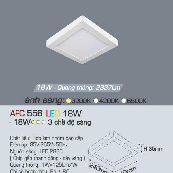 Đèn ốp trần cao cấp 3 chế độ Anfaco AFC 556 18W 3C