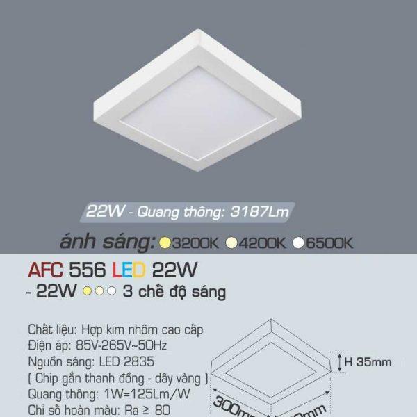 Đèn ốp trần cao cấp 3 chế độ Anfaco AFC 556 22W 3C