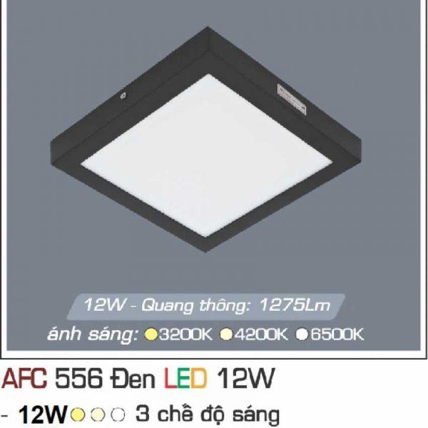 Đèn ốp trần cao cấp 3 chế độ Anfaco AFC 556 ĐEN 12W 3C